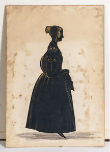 1850 Full Body Silhouette of a Lady in Charcoal