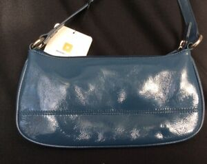 Wilson Leather Baguette Shoulder Handbag Teal Blue Patent Leather NWT
