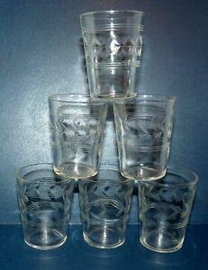 Shot Glasses Crystal Vintage Etched Set of 6