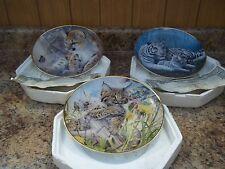 3 Pc Franklin Mint Tiger Leopard Porcelain Plates Wildlife Ltd Edition Loates