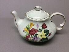 Vintage Ellgreave England Tea Pot Floral Pattern Gold Trim #432
