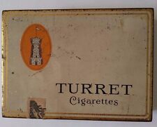VINTAGE TURRET MILD VIRGINIA CIGARETTES EMPTY 100 CIG TIN BOX FROM CANADA(F)