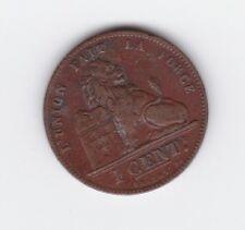 1902 Leopold II Belgium Copper 1 Cent Coin S-10