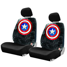 New Captain America Shield Car Truck 2 Front Seat Covers with Headrest Covers