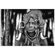 Black & White Indigenous Art Ethiopian Woman Photo Mursi Headdress Decor Acrylic