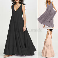 Women Party Gown Prom Ball Bowknot Tiered V Neck Solid Swing Long Maxi Dress NEW