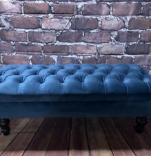Navy plush velvet chesterfield stool footstool coffee table large Pouffe ....