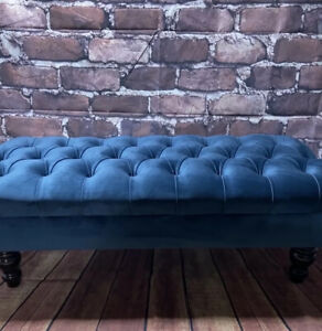 Navy plush velvet chesterfield stool footstool coffee table large Pouffe …