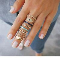 8pcs/Set Vintage Gold Ring Boho Evil Eye Heart Midi Finger Knuckle Rings Jewelry