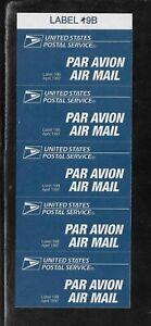 US Airmail Par Avion Etiquette Label 19B (1997) - Self Adhesive MINT - Pane of 5