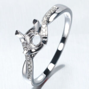 Engagement Women Ring Jewelry Solid 10K White Gold Semi-Mount Natural Diamonds