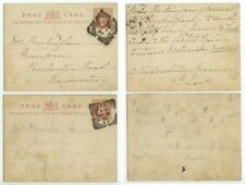 1896 Great Britain Half Penny pcs - quadruple-ring boxed cancels - covers