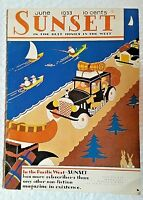 "1933 June ""SUNSET"" Magazine ~ COVER by California ARTIST Heath Anderson"