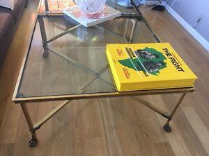 "Coffee table Ralph Lauren bronze-brass-glass 41""x41""x60""great condition1SALE"