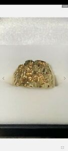 10kt Yellow Gold Nugget Ring 7 grams size 9 Mens