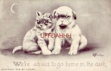 1910 We'Re Afraid To Go Home In The Dark kitten & puppy huddled together V Colby