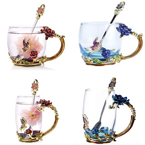 Enamel Glass Rose Flower Tea Cup Set Spoon Coffee Cup Beer Mug Mothers Day Gift