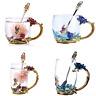Enamel Glass Rose Flower Tea Cup Set Spoon Coffee Cup Beer Mug Mothers Day Gift