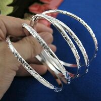 925 Sterling Jewelry Bangle Chain Bracelet Solid Silver Crystal Cuff Charm Women