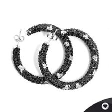 STERLING SILVER EARRINGS WITH BLACK & WHITE CZ!! RRP~149€ / -74,50€ OFF!!!