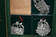 Longaberger 2002 Pewter Basket Ornaments - Set of 4 In Box #77455