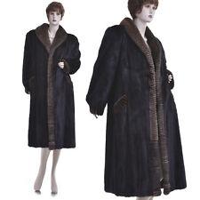 Excellent! Artistic Female Black Mahogany Mink Fur Coat w/Décor Borders