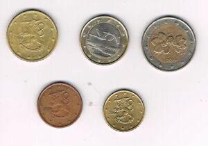 Finlande 2000, 5 pieces coins : 5 cents, 10 cents, 50 cents, 1 euro, 2 euros