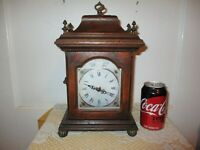 Vintage Wood & Brass Mantel Shelf Clock With Hidden Compartment - Works Great!
