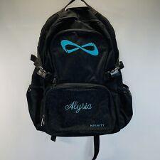 NFINITY Black Sparkle Backpack With Teal Blue Logo - Cheer Gymnastics