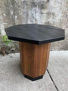 Vintage Modern Sculptural Slate & Walnut Mid Century Octagon End Table Side