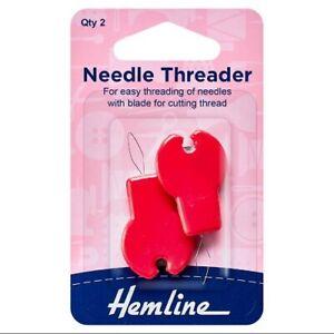 Hemline Plastic Needle Threaders with cutter x 2   H237