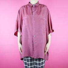 VINTAGE Silk 1990's 1980's Oversize Grunge Purple Pink Retro Blouse Shirt Top XL