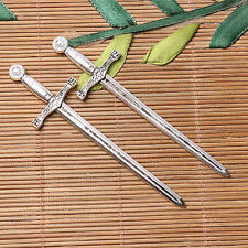 Tibetan silver plated long beautiful sword charm pendants  4pcs  EF3581