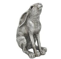 12cm silver hare gazing ornament figurine detailed pewter effect