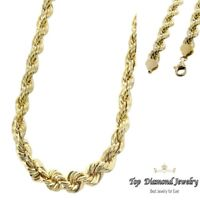 14K Yellow Gold Italy Diamond Cut Men's Solid Rope Chain Twist Necklace 4 mm