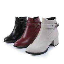 Womens Ladies Low Block Heel Ankle Boots Casual British Motor Zip Buckle Shoes D