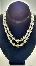 Pretty Art deco  carved  rock crystals 2 strands sterling clasp necklace