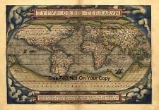 Groß A1 Abraham Ortelius 1570 Reproduktion Alt Antik Weltkarte Plan Plakat