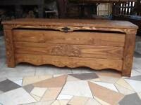 Wooden Blanket Box Coffee Table Trunk Vintage Chest Wooden Ottoman Toy Box (BT1)
