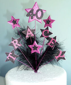 Glitter Star & Feather Cake Topper ANY AGE & NAME 16th 21st 40th 50th & more