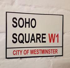 LONDON STREET SIGN -  SOHO SQUARE - W1 - METAL ALUMINIUM SIGN
