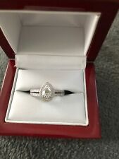 Brand New GIA 18k WG F/SI2 Pear Diamond Double-Shank Ring 1.00 cttw