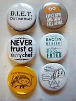 "1.5"" FOOD HUMOR Set #1  6-pk Novelty Buttons/Pins: For backpacks, Jackets & More"