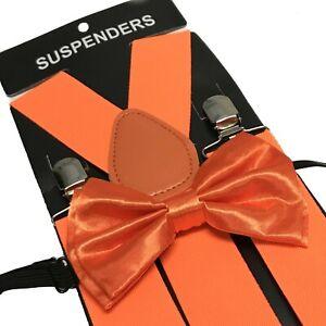 Orange Wide Suspender and Bow Tie Set for Teenagers Adult Men Women (USA SELLER)