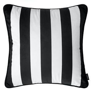Striped Cushion Black and White Monochrome Stripes Cover Sofa Throw 55cm 22in