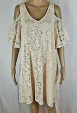 Nanette Lepore Dress Womens size 8 Blush Pink Lace Cold Shoulder