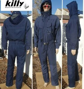 french KILLY 1 piece insulated ski suit snow jacket pant hooded RECCO 52 mens L