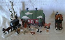 Dept 56 New England Village Pa Dutch Barn w Horse Drawn Cart Carriage Animal