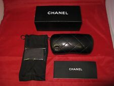 CHANEL Eyeglass Sunglasses Case Quilted Black Leather 5 Piece 100% Authentic