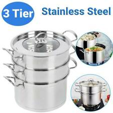3 Tier Stainless Steel Food Steamer Set Induction Hob Cookware Steam Pot Pan Set